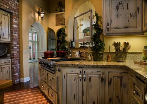Part 2 Buttercream distressed cabinets  Distressed Kitchens Cabinets, Kitchens Design, Dreams Kitchens, Old World Style, Kitchens Ideas, Country Kitchens Cabinets, French Country Kitchens, French Kitchens, Kitchen Cabinets