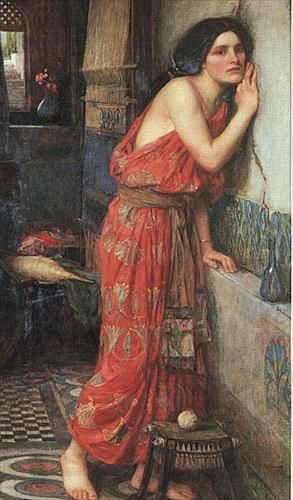 Thisbe aka The Listener, 1909 - John William Waterhouse. Thisbe, a maiden of Babylon, was forbidden by her parents to marry her beloved Pyramus. The two lovers defied their families by exchanging vows through a chink in the wall which divided their houses, and plotted to elope together, fixing upon a white mulberry bush as the appointed spot.