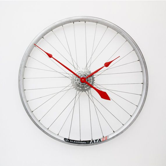 Bicycle Wheel Clock Bicycle Clock Bike Wall by treadandpedals
