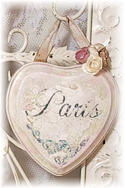 """Vintage Style Romantic French Chic Hanging Heart -- """"Paris"""" \\ Rose Cottage Chic"""