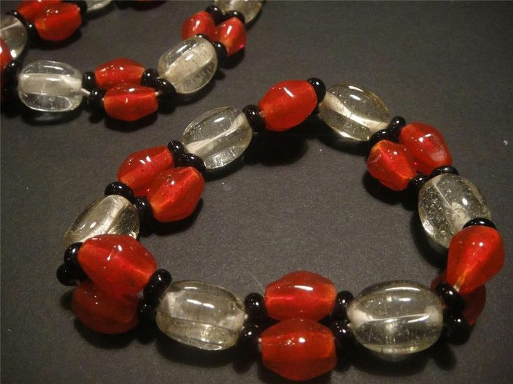 #Glass #bead #bracelets matching pair red black clear glass #Murano style handmade Expires 07 May, 2014