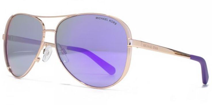 Michael Kors Chelsea Sunglasses, MK5004 Gold Pink Purple Mirror