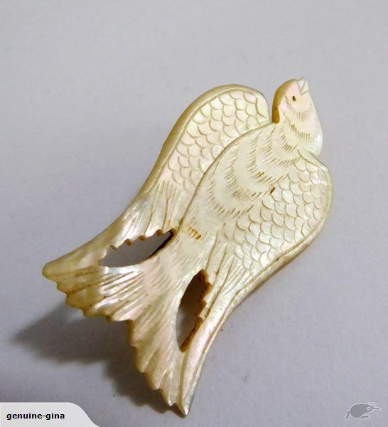 Antique/ Vintage Mother of Pearl engraved bird brooch