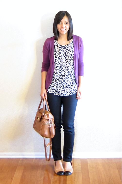 Bright cardi over black/white printed top (THIS is what I want to look like!!!)