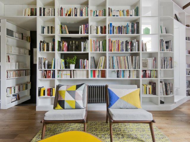 Bibliotheque blanche salon