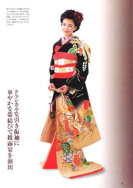 花嫁衣裳・黒引き振袖 桐竹と檜扇柄 │KIMONO-PRO京都