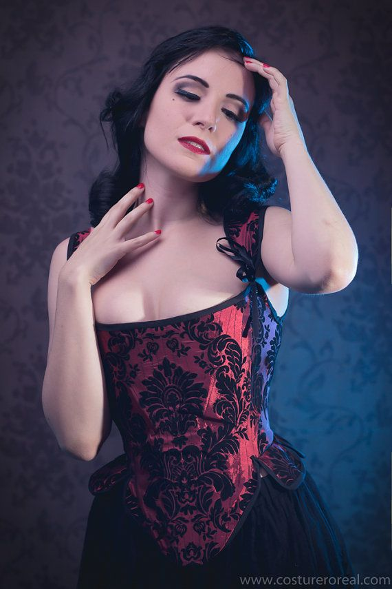On stock  corset red and black silk brocade by CostureroReal