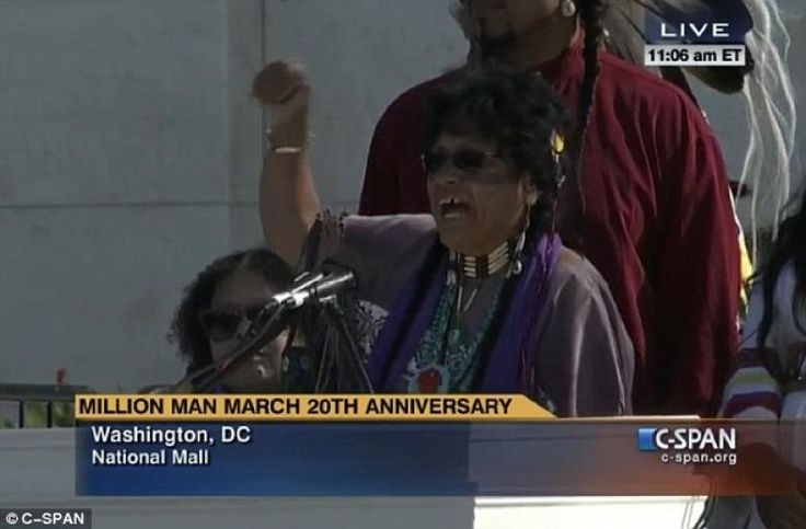 "10/12/15 - Speaker Chants ""Down, Down USA"" at Million Man March Annie Rally in DC. . . THEN  LEAVE !!!!. . . The niece of Martin Luther King, Jr. reacted to vitriolic comments made about the U.S. at this weekend's 20th anniversary of the Million Man March in Washington, D.C., saying ""We must now build up America,"" not tear it down."