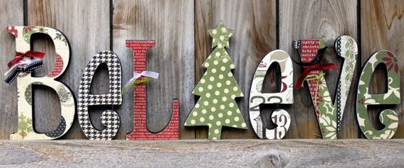 BELIEVE Wood Letter Decor by SweetPickleDesignsCo
