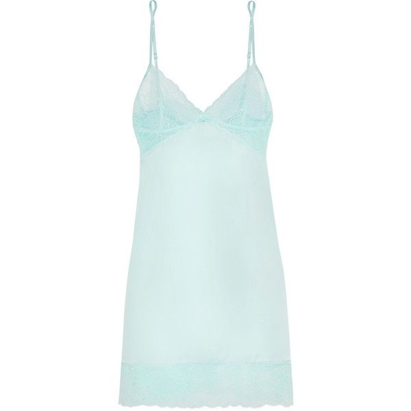 Heidi Klum Intimates Lune De Miel lace-trimmed stretch-satin chemise (€74) ❤ liked on Polyvore featuring intimates, chemises, lingerie, underwear, pajamas, intimate, blue, lace trim chemise, blue chemise and chemise lingerie