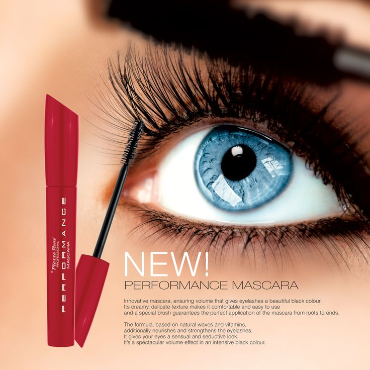 PERFORMANCE MASCARA  Innovative mascara, ensuring volume that gives eyelashes a beautiful black colour. Its creamy, delicate texture makes it comfortable and easy to use and a special brush guarantees the perfect application of the mascara from roots to ends. The formula, based on natural waxes and vitamins, additionally nourishes and strengthens the eyelashes. It gives your eyes a sensual and seductive look.  It's a spectacular volume effect in an intensive black colour.