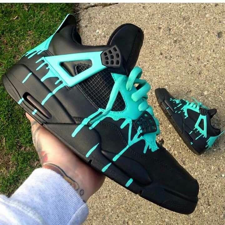 Cstom jordan iv sneakers black turquoise dripping paint. Street art  graffiti culture hip-hop
