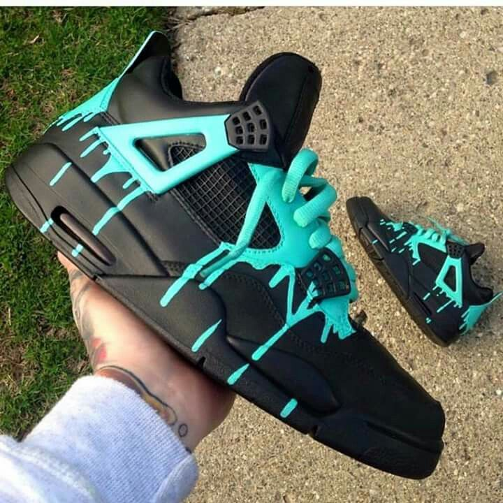 Cstom jordan iv sneakers black turquoise dripping paint. Street art graffiti culture hip-hop