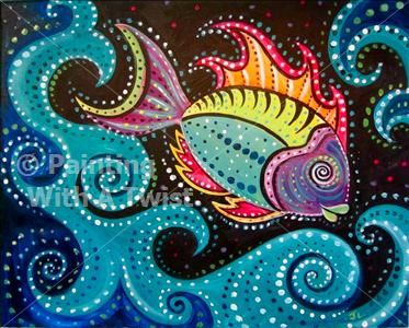 Aboriginal Fish - St. Petersburg Painting Class - Painting with a Twist