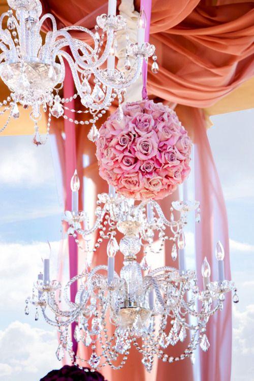 BeautifulCrystals Wedding, Wedding Parties, Pink Flower, Parties Supplies, Flower Ball, Romantic Wedding, Crystals Chandeliers, Hanging Flower, Pink Rose