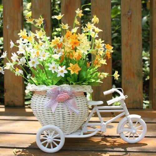 Weiss-Dreirad-Fahrrad-Design-Blumenkorb-fuer-Party-Hochzeit-Haus-Dekor