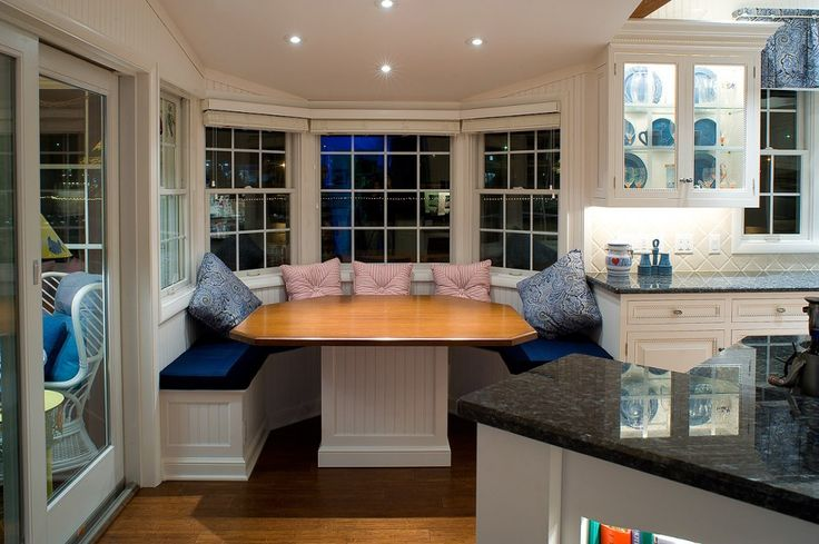 Furniture, Captivating U Shaped White Kitchen Nook With Blue Fabric Cushions Red Stripped Cushions Blue Floral Pattern Cushions White Dining Table With Wood Countertop White Kitchen Bay Window Recessed Lightings: Knowing Best Kitchen Nook Ideas