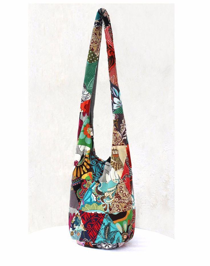 Thai Cotton Sling Bag Purse Crossbody Messenger Hippie Hobo Hand Woven Ikat (10)