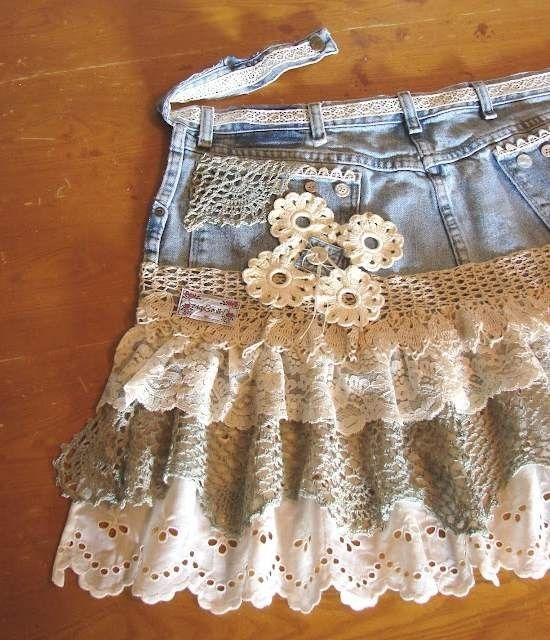 Детская юбка из старых своими руками джинс фото