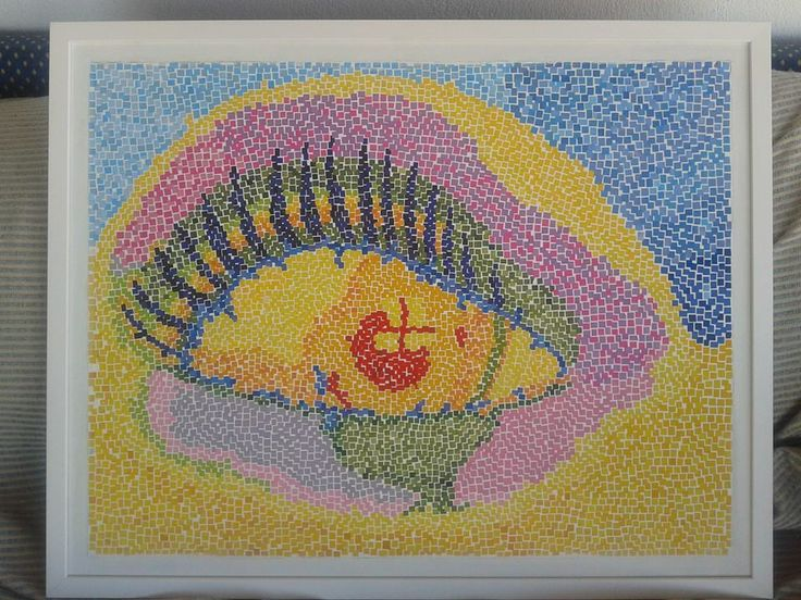 paper mosaic collage from magazine pages, 50 X 70 cm, white wooden frame