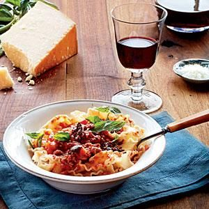 Slow-Simmered Meat Sauce  Mafaldine is a flat noodle with ruffled edges. You can substitute spaghetti if you prefer. Though it will take eight and a half hours before this recipe is ready to be served, only 25 minutes will be hands-on. You can't beat that!