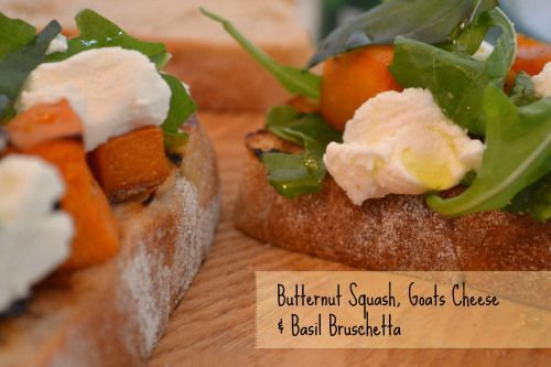 Butternut Squash Goats Cheese and Basil Bruschetta