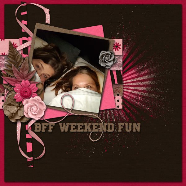 BFF Weekend Fun - digital Scrapbook Layout I created with Loud About Girls by Designs by Romajo at With Love Studio and Scrappy Bee. I love the pink colors, the great flowers and papers in this charity kit. From every kit sold €1 will be donated to plan nederland for the Loud About Girls campain.