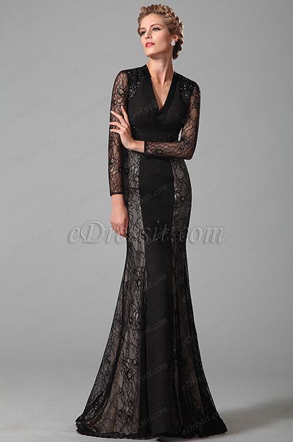 Gorgeous Long Lace Sleeves Black Mother of the Bride Gown (26151000) #edressit #fashion #dresses #eveningdresses #lace #longsleevesgowns #motherofthebridedresses