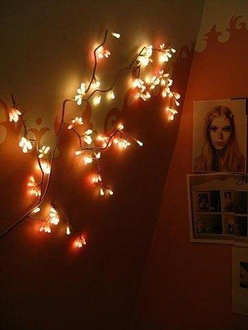 bedroom, christmas lights, dim, fairy lights, interior decorating