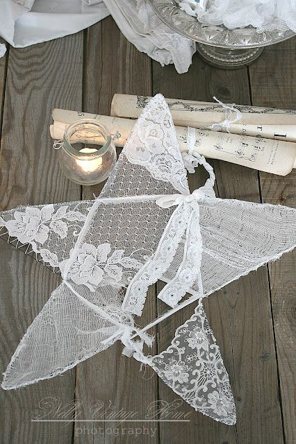 Wire and old lace! This site has LOTS of beautiful projects to use old lace and doilies. Some you have seen pinned individually. GREAT SITE!