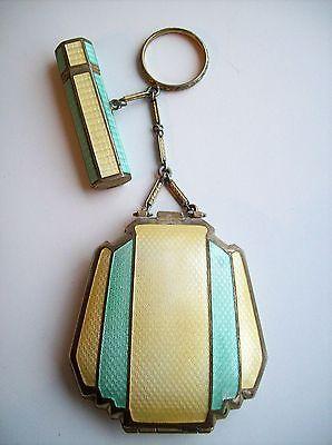Antique-Art-Deco-FMCo-TANGO-Double-Guilloche-Powder-Compact-Lipstick-w-BOX-Vtg