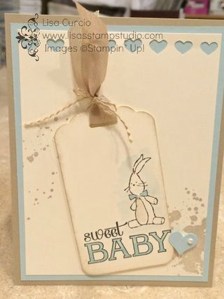Lovin' this simple baby card which would be great for invitations to a shower or a birth announcement. Stampin' Up!, paper, craft, scrapbook, Baby, We've Grown, Gorgeous Grunge, Scalloped Tag Topper Punch, Hearts Border Punch, Itty Bitty Accents Punch Pack, www.lisasstampstudio.com