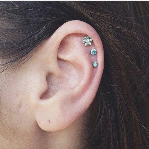 Triple Flower Cartilage Ear Piercing Studs at MyBodiArt
