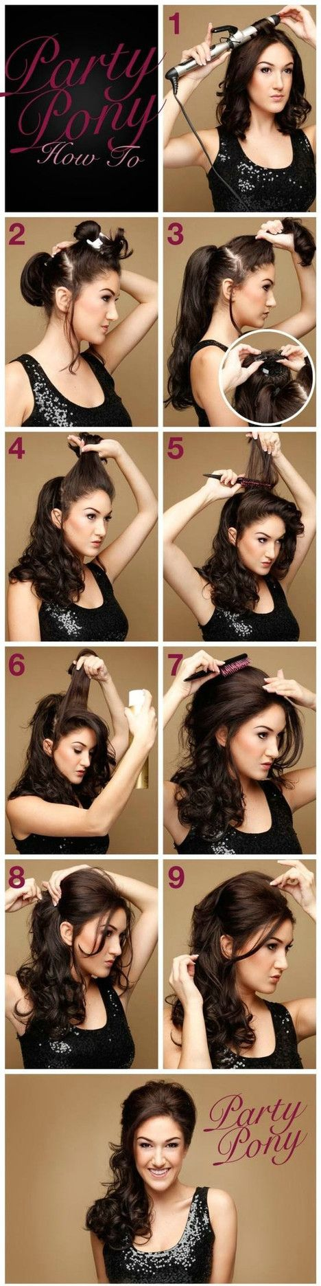 party hairstyle // took me a minute to figure out what she was doing in step 3...she's clipping extensions, I think. It looks like her hair is actually shoulder length (which means I COULD do this!)