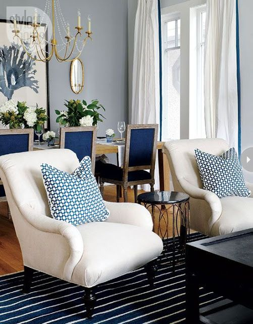 [CasaGiardino] ♛ South Shore Decorating Blog. Different patterns in blue makes this room a candy for the eye.