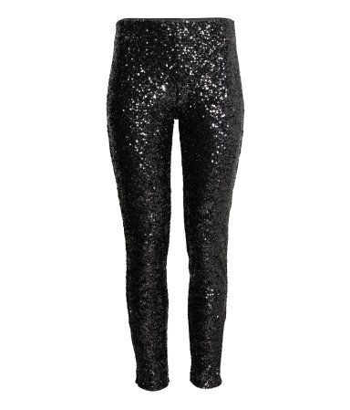 Pants in sequined mesh with a high waist and ultra-slim legs. Elasticized waistband, concealed side zip, and jersey lining.