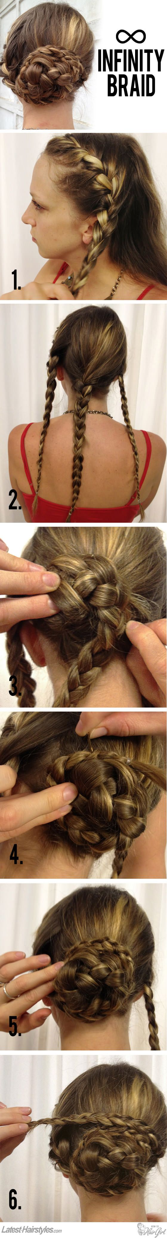 How-to: Infinity Braid Bun. With both visual and written steps.