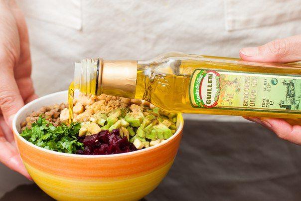 Салат из чечевицы, свеклы и арахиса | Про рецептики - лучшие кулинарные рецепты для Вас!