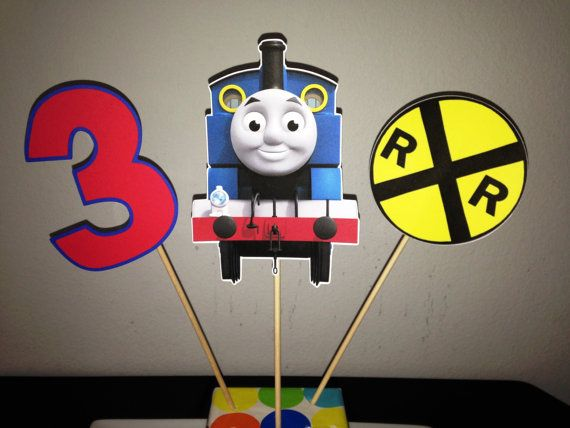 thomas train crafts   Thomas the Train - Set of 3 - Centerpiece Picks