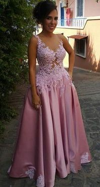 Lace Appliqued Lilac Prom Dress,Sexy Formal Dress,Long Prom Dress,Senior Pageant Gown,2134