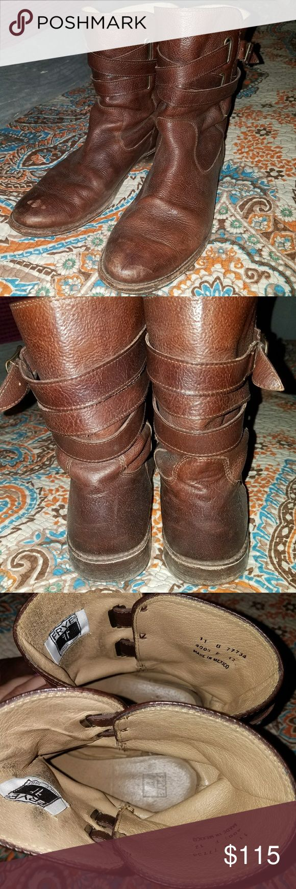 Frye Harness Boots Women's Frye Harness Boots size 12 Rare Styling from Frye Genuine leather Great condition Frye Shoes Ankle Boots & Booties