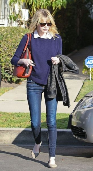 Emma Stone: top/sweater + button down + jeans + shoes : (effortlessly chic) (collars)
