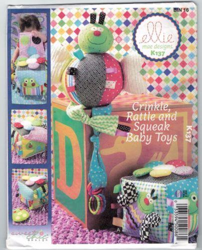 NEW-Crinkle-Rattle-Squeak-Baby-Toys-Ellie-May-K137-Kwik-Sew-FREE-AUS-POST