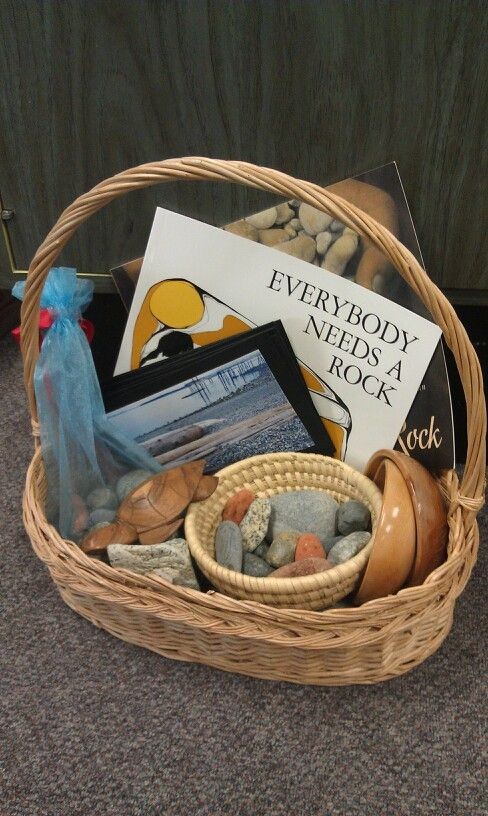 Provocation Box - natural materials, rocks, woven baskets, 'Everybody Needs A Rock'