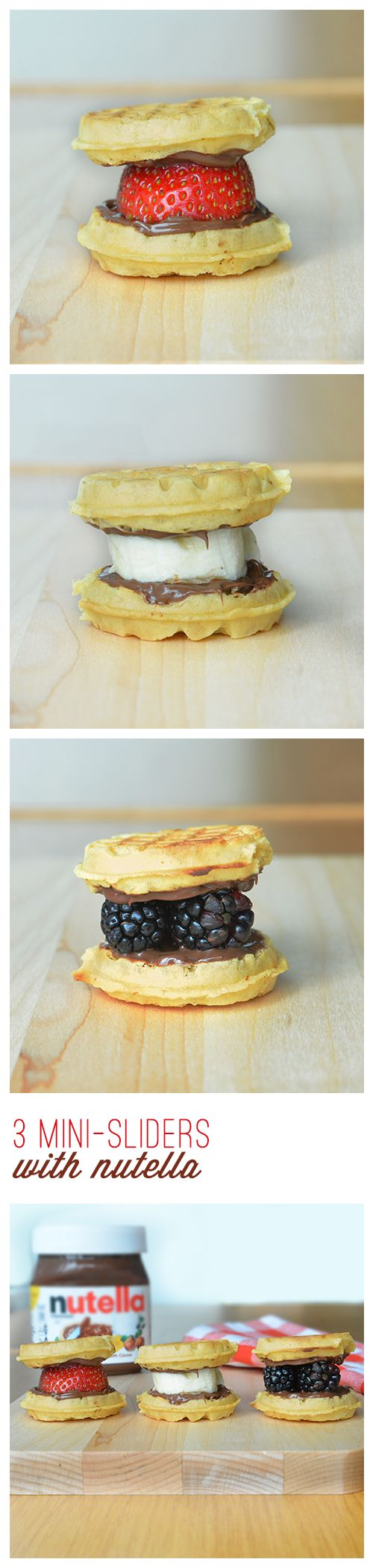 Need even easier ways to feed your family on hectic school days? Help your kids build-their-own breakfast or snack and choose-their-own bliss by creating these mini-sliders with Nutella®. All you need are some mini waffles, your choice of fruit and a spread of Nutella®. It's easy, fun and might just make you the coolest mom on the block.