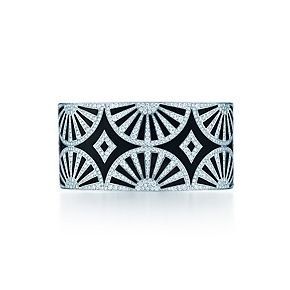 Deco Fan bangle in platinum and black lacquer with diamonds / Tiffany.com. Stunning..