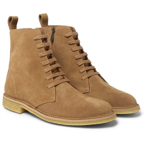 Bottega Veneta Suede Desert Boots ($550) ❤ liked on Polyvore featuring men's fashion, men's shoes, men's boots, shoes, mens tan boots, mens tan suede chelsea boots, mens zip boots, mens suede desert boots and mens long boots