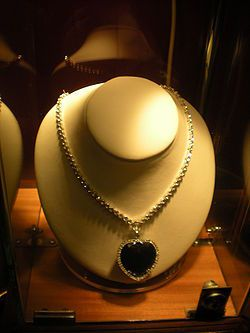 "The ""Heart of the Ocean"" necklace from the 1997 film Titanic, worn by Kate Winslet as Rose DeWitt Bukater."