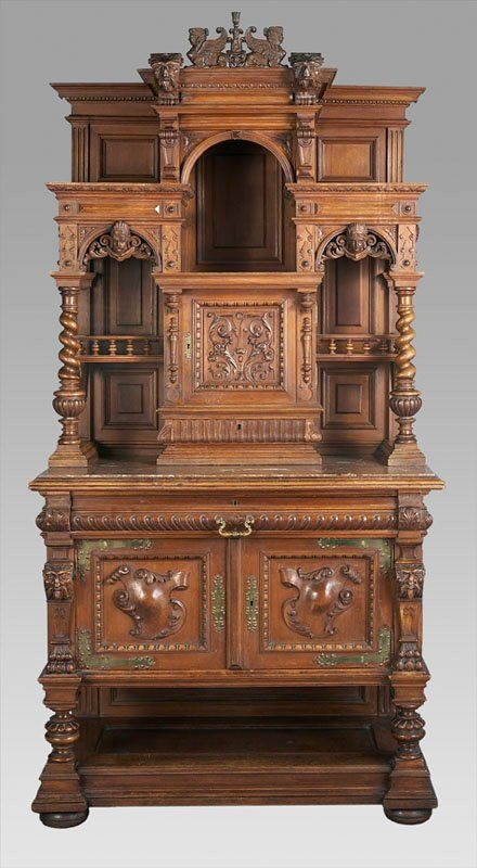 73: Gothic Revival carved oak marble top server : Lot 73