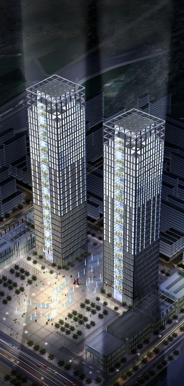 Dalian Futures Square Towers, Dalian by Architekten von Gerkan, Marg und Partner :: 53 floors, height 232m